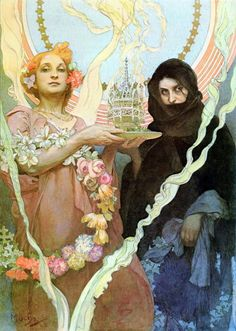 alphonse mucha - design for hearts international, watercolor