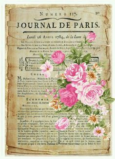 Vintage French letter with pink bouquet