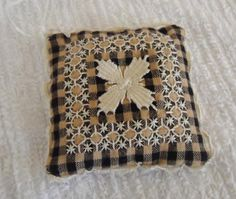 Chicken Scratch and Teneriffe Embroidery. Black Gingham Organic Lavender Sachet. Popular mid century embroidery.