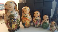 "Beautiful RUSSIAN Nesting Doll 5 pc.."""". HUMPBACKED HORSE VERY RARE"