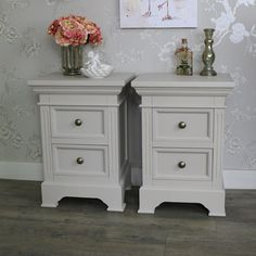 furniture pair of grey taupe bedside table chests shabby French chic furniture Shabby French Chic, Shabby Chic Vintage, Table Vintage, Vintage Country, Grey Bedroom Furniture Sets, Shabby Chic Bedroom Furniture, Hall Furniture, Furniture Storage, Country Themed Bedrooms