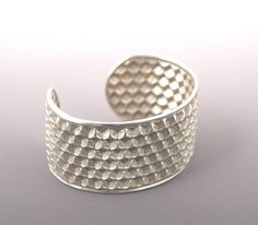 Silver Honey Comb Cuff Bracelet with organic by TafSchaeferDesign