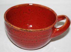 Starbucks Coffee Mug 2011 Burnt Orange Hand Painted Rice Bowl Horizontal Handle #Starbucks
