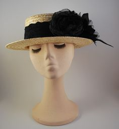 4 TRASNO  Hat very elegant Boater in natural straw with black fabric flowers dc43d316d1d