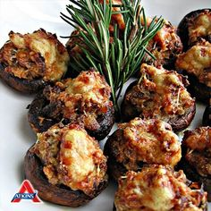 Stuffed Mushrooms are quick and easy appetizers for your holiday dinners - and only 1 net carb per serving! (All phases)