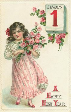 Love the abundance of soft pink in this beautiful vintage New Year's greeting card. #vintage #New_Years #card