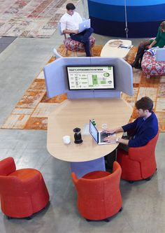 Away from the desk is a soft seating range with built in work surfaces for improved collaborative working. Office Nook, Office Set, Office Decor, Office Canteen, Optometry Office, Smart Office, Pharmacy Design, Real Estate Office, Co Working