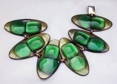 Kay Denning Modernist Green Gold Enamel on Copper Bracelet | eBay