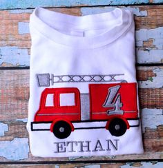 Firetruck birthday shirt , toddler firetruck birthday shirt, Toddler birthday, firetruck t-shirt, Boys Birthday Shirt
