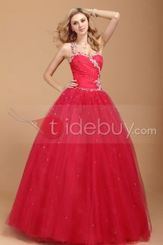 プロム プリンセス/カラードレス ワンショルダー ロング ビーズアクセサリー