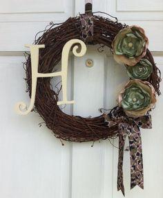 Camouflage Grapevine Wreath - Army Wreath. $40.00, via Etsy.