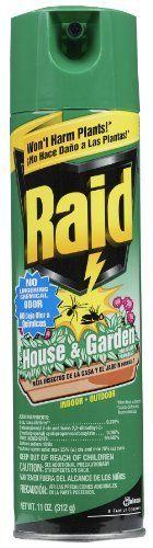 Raid 01672 House & Garden Bug Killer by Raid. $9.36. Pleasant odor, non-flammable, and non-staining. This item is not for sale in Catalina Island. Equally effective indoors or outdoors. 11-Ounce aerosol. Comes with tamper-proof actuator cap. Raid House & Garden Bug Killer is designed to kill crawling, flying, and garden insects. Its gentle formula will not harm your house or garden plants. Use Raid House & Garden Bug Killer around carpets, draperies, no-wax floors...