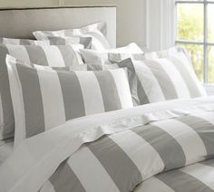 For a fresh, preppy style, try this classic stripe duvet cover and sham ($32-$129, originally $39-$149).