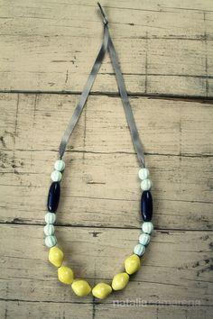 Yellow & Blue Raku Ceramic Necklace by NataliaCamarena on Etsy, $45.00