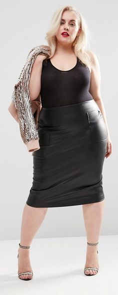 Plus Size Pencil Skirt in Leather Look