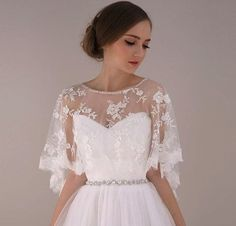 Ivory Soft Embroidery Flower lace Bridal Cape, Bride Wedding Gown dress Jacket, White Capelet Bolero Cover up Shawl Shrug Topper: Lace Bridal, Bridal Bolero, Bridal Cape, Bridal Gowns, Wedding Gowns, Wedding Bolero, Lace Wedding, Wedding Shawls, Wedding Cape
