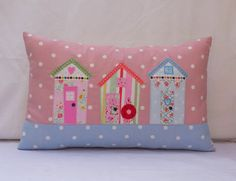 Beach Huts Oblong Pillow Cover 20x12 Lumber Cushion by FullColour