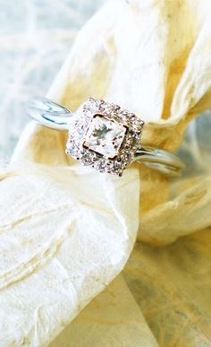 White Gold Contemporary Halo Engagement Ring