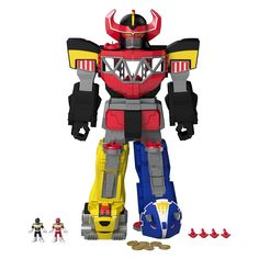 Unleash the power of the Fisher-Price Imaginext Blue Power Rangers Morphin Megazord. Your little power ranger will love all this Megazord has to offer, like awesome transformations, light up eyes, and an interactive Power Pad for Morphin action.