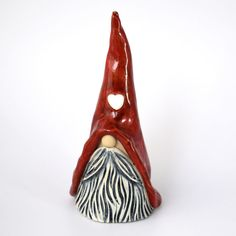 A Scandinavian nisse or tomtenisse gnome standing tall. Free UK Postage Because our craft fair sales have approxima. Pottery Painting, Ceramic Painting, Ceramic Art, Ceramic Bowls, Slab Pottery, Pottery Clay, Pottery Studio, Sculpture Clay, Ceramic Sculptures