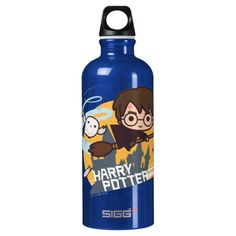 Cartoon Harry and Hedwig Flying Past Hogwarts Water Bottle