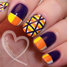 I am unfolding before you Halloween inspired candy corn nail art designs, ideas & stickers of Have a look at the collection. Halloween Nail Designs, Halloween Nail Art, Cute Nail Designs, Halloween Items, Spooky Halloween, Fancy Nails, Cute Nails, Pretty Nails, Holiday Nail Art