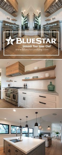 Stunning modern and open plan kitchen! It is truly home sweet home in this San Anselmo ktichen. Click to build your own Bluestar kitchen! Just like Leslie!