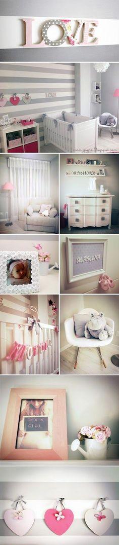 Habitación de bebe en gris y rosa / Quarto de bebê em cinza e rosa / Nursery gray and pink: