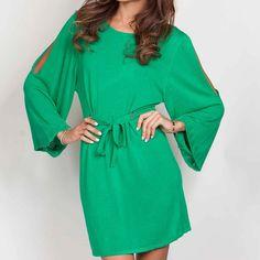 Crew Neck Dress Green