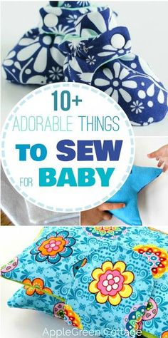 Sewing Gifts 10 adorable things to sew for a baby, easy sewing projects with beginner sewing patterns. Make cute homemade baby shower gifts. - Adorable things to sew for baby, sewing patterns and tutorials for baby welcoming gifts you can make yourself. Beginner Sewing Patterns, Easy Sewing Projects, Sewing Projects For Beginners, Sewing Hacks, Sewing Crafts, Sewing Tips, Sewing Ideas, Baby Sewing Tutorials, Sewing Stitches