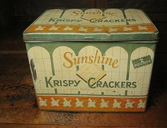 Old Vintage Sunshine Krispy Cracker Advertising Tin