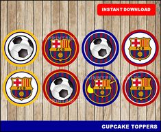 FC Barcelona cupcakes toppers printable FC Barcelona toppers