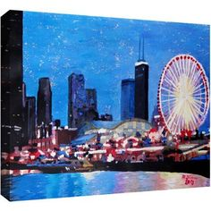 ArtWall Martina and Markus Bleichner Chicago Wheel Gallery-Wrapped Canvas, Size: 24 x 36, Multicolor