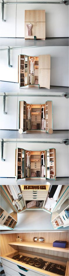 What a neat idea! For the spatially challenged room, this cabinet looking closet is perfect. The wheels help to make it easy to open up your closet doors and let the magic take place!