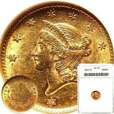 ANACS AU50 Certified! 1853 US Liberty Head Gold $1 sku #3951