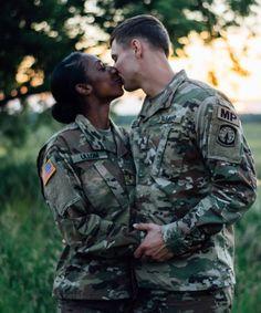 Beautiful interracial military couple sharing a passionate kiss Military Couple Pictures, Military Couples, Military Love, Couple Pics, Military Wedding, Couple Shoot, Family Pictures, Interracial Family, Interracial Marriage