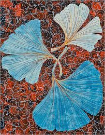 Colored gingko ~ blue shades - here for examples of overall leaf shape & vein perspective (not color!). But also like the way the trio looks in silhouette/size -  could work for start or end of design??? with 2 leaves and 1 dragonfly or even opposite with only 1 leaf offering more of a nod to the original Klein piece.