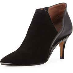Donald J Pliner Talia Pointed-Toe Ankle Boot (6.790 CZK) ❤ liked on Polyvore featuring shoes, boots, ankle booties, black, leather boots, high heel ankle boots, black pointed toe booties, black boots and leather booties