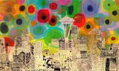 try colored tissue paper and perhaps newspaper/book (draw details on buildings w/black sharpies) pages for cityscape?