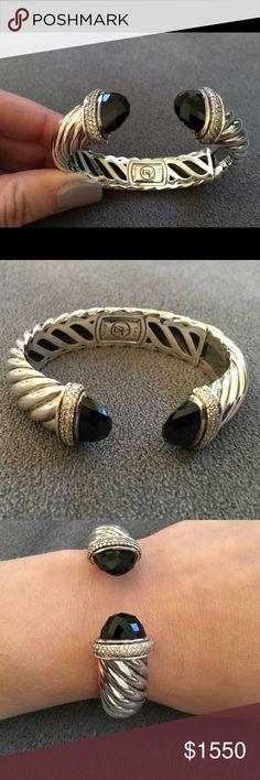 David Yurman Bracelet Authentic David Yurman black onyx and diamond bracelet, like new condition David Yurman Jewelry Bracelets
