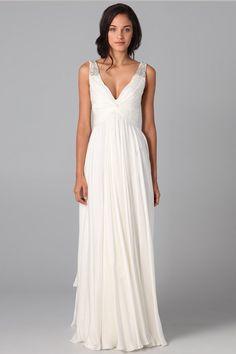 Beautiful Prom Dresses A Line V Neck Floor Length Chiffon Beaded Straps