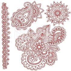 Henna Mehndi Doodle Paisley Design Elements royalty-free stock vector art