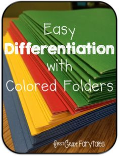 Differentiation is the buzzword that just keeps on buzzing! Teachers, administrators, and evaluation systems are placing more and more emphasis on differentiation in the classroom. Sometimes, the thought of organizing lessons to meet the individual needs of all of your students can feel like an overwhelming challenge. One of the best and simplest ways I have found to do this is with colored pocket folders.