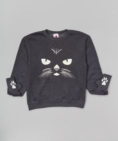 Another great find on #zulily! Charcoal Cat Glow-in-the-Dark Glove-Cuff Sweatshirt - Kids by Handcuffs #zulilyfinds