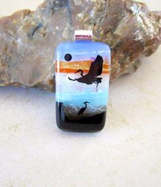 Bird in Flight Fused Glass Dichroic Pendant A0139 | bluskysglass - Jewelry on ArtFire