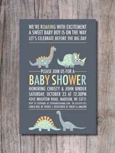 Dinosaur Baby Shower Invitation - Modern via Etsy