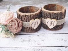 Bark Wrapped Glass Jars with Burlap and Heart Set of 2 by PNZ Designs by PNZdesigns for $19.50