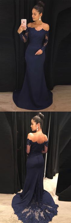 Navy Prom Dresses,Mermaid Prom Dress,Off the Shoulder Prom Dress,Long Prom Dresses with Long Sleeves #navy #mermaid #longsleeves #prom #evening #okdresses