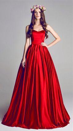 Strapless Red Prom Dress