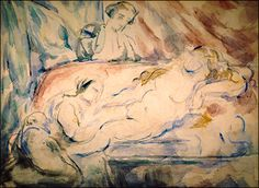 Nude Female with Attendants, 1880 by Paul Cezanne, Mature period. Post-Impressionism. nude painting (nu). Arkansas Arts Center, Little Rock, Arkansas, USA